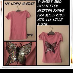 T-shirt med pallietter der skifter farve fra miss kids str 116 lille i str  ny uden mærke byd