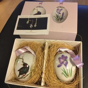 Royal Copenhagen 2 stk. æg i dobbeltæske , med rede , indlægsseddel og bånd -  ubrugte kun pakket ud til foto —1 sortering  2018 stær og crokus (1249 994)  Sender + Porto  #30dayssellout