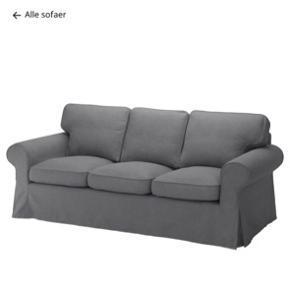 Sælger en Ektorp Ikea sofa til 3 Pers i gråt stof. Den er brugt men har ingen tegn på slid eller fejl. Stoffet kan vaskes. Skriv hvis i ønsker billeder.