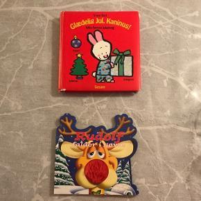 """2 julebøgerRudolf falder i søvn med papsider og blød """"føle"""" næse. Og """"Glædelig jul, Kaninus - Min første julebog """" Med billeder af juleting 5 kr for begge bøger"""
