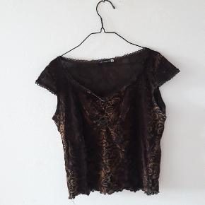 Brun mønstret velour t-shirt