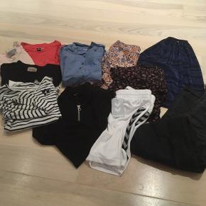 11 stykker tøj, nederdele er 122 men lang fra molo, brugt af 10 årige, name it nederdel str 128, ligeledes brugt af 10 årige. Ellers - t-shirt, sportsshorts, skjortekjole mm;) fra røgfrit hjem og vasket i neutral!
