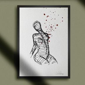 Abstrakt kunst lavet på tykt akvarel papir med tusch og akvarel 🧑🏼🎨  A4-størrelse   Ramme medfølger ikke