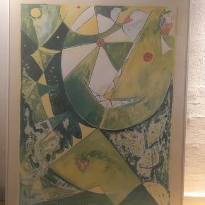 Egill Jacobsen indrammet plakat, med det kendte ansigt i grønne farver.  Mål: H:90 cm. B: 70 cm.