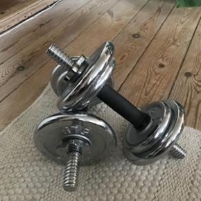 Håndvægte 2 stk. a 6 kg + stang - BYD!
