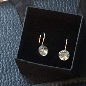 Søde øreringe i sølv med klar sten.