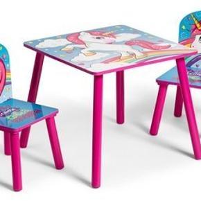 Helt ny børne bord stole sæt med unicorn. Super sød. Byd