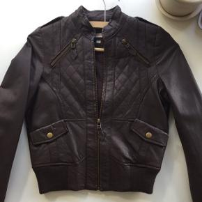 Asos petite leather jacket in chocolate brown. Very good condition