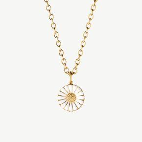 Sterlingsølv belagt med 18 kt. guld, hvid emalje. 18 mm daisy vedhæng m. 450 mm kæde.