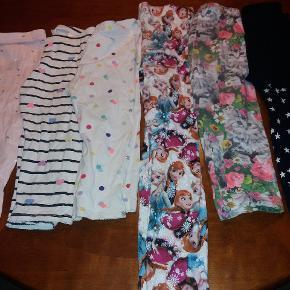 6 par leggings.  De første 4 par er fra H&M de andre er ukendt mærke. De mørke er lidt kraftig kvalitet. Brugte men I fin stand