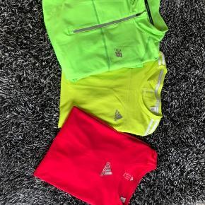Forskellige t-shirts og varm løbetrøje. Sælges samlet for 200kr. Hvis kun den ene trøje/t-shirt ønskes så byd gerne.