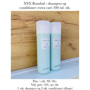 NYE Rønsbøl - shampoo og conditioner extra care 200 ml. stk.   Pris: 1 stk. NU 80,- Vejl. pris: 169,- pr. stk.   (1 stk. shampoo og 2 stk. conditioner tilbage)   Se også over 200 andre nye produkter, som jeg har til salg herinde :-)