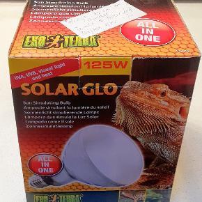 Exo Terra solar - GLO  125 w Aldrig brugt  3 i 1 pære der  simulerer solens ur varme og lys. Krybdyr/ trivsel . Skildpadder og andre krybdyr  Nypris 420kr