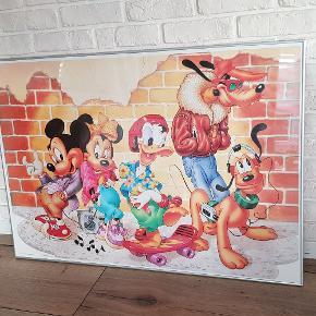 stort billede disney mickey mouse og venner.  ramme, glas