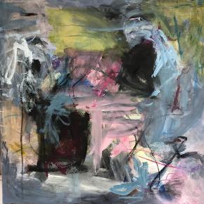 Varetype: Abstrakt maleri 90 x 90 Størrelse: 90 x 90 cm Farve: mange farver Denne vare er designet af mig selv.  Abstrakt akrylmaleri 90 cm90 cm. Uden ramme. Som du kan se, kan det vendes på mange måder, og se forskelligt ud.