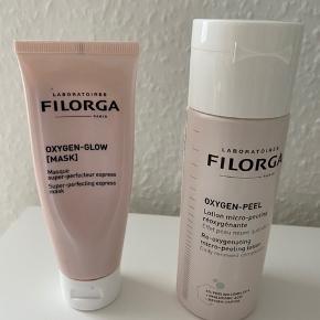 Den populære Filorga maske og peeling - halvdelen er brugt ved begge  og sælges derfor billigt - men købt for kort tid siden så fejler ikke noget kvalitetsmæssigt 💗 Man kan evt bruge dem som en test for at se om de fungerer for ens hud, inden man går ud og køber produkterne til fuld pris, som kister hhv 270 og 280 kr.