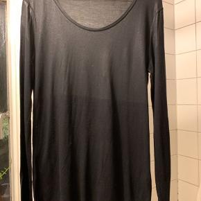 Langærmet t-shirt med shiny overflade øverst på blusen.