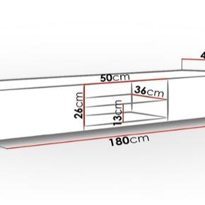 Hvid højglans tv-bord   Længde: 180 cm  Højde: 30 cm  Bredde: 40 cm  Helt nyt tv-bord uåbnede. Fejl køb!