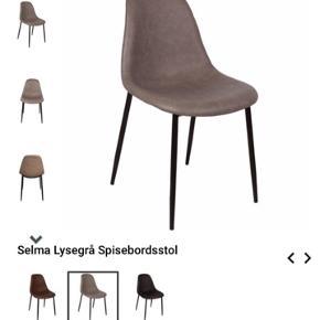 4 spisebordsstole fra Nimara - brugt i 5 måneder. Sælges da jeg flytter til udlandet. Tænker umiddelbart 199 kr pr stol og sælges samlet. Ellers byd. Kan afhentes i Horsens.