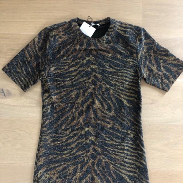 Lurex Jersey T shirt Top Blå
