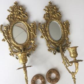 2 stk væglysestager i messing med spejl, fra ca år 1900 Pr stk 200kr
