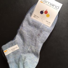 Seks par Camano sneakers-sokker, økotex. 3 par stadig med mærke, 3 par er vasket men ubrugte. Se også forsk. nye hjemmesko og støvler.