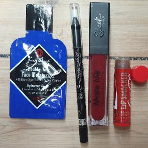 Lækre produkter/makeup sælges samlet  - Double duty face moistruizer - Rimmel sort eyeliner, brugt en gang - Sleek, Matte me læbestift, rød, brugt en gang - Cola læbe pomade, brugt to gange  det sælges samlet for 35kr kan sendes med postnord som brev kan sendes med DAO for 38kr