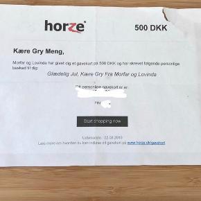 Sælger dette gavekort til horses med 500kr på. Lige så snart jeg har fået penge kan du se koderne