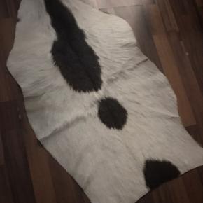 Ægte ko-skindtæppe Sælger dette ko skind, da jeg skal flytte i en anden lejlighed. Det er find stand, der er dog et sted hvor den mangler lidt hård, med ikke noget mam ligger mærke til.