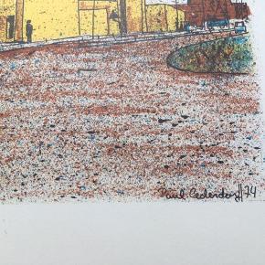 """Farvelitografi af Paul M. Cederdorff  """"Nørrelandskirken"""" (Holstebro)  Størrelse: 45x31 cm.   Signeret i trykket Nummereret i bly: 63/150  Tegnet og trykt ifm. Holstebros 700 år jubilæum i 1974.  Trykt hos Thomsens Bogtrykkeri i Holstebro.   Sender gerne 👀   Slå lige et smut forbi mind andre annoncer også 💥"""