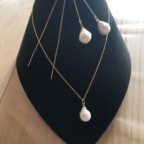 Halskæde og ørekæder med store barok perler forgyldt sølv halskæden er 42 cm alt Nyt
