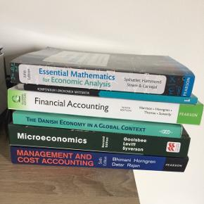 Studiebøger til 1. Og 2. Semester på BscB BSS. Rigtig god stand, ingen understregninger eller noter i bøgerne.  Essentials of Mathematics 5. Edition + gratis kompendium   Financial accounting 9. Edition   Microeconomics 2. Edition + the Danish economy 1. Edition  Management and Cost accounting 6. Edition