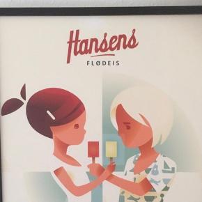 Hansens flødeis - du ved dem med eskimois  Yderst fin stand - i gallerierne med smoreophæng   Retrolook   Børn det spiser is  Plakat litografi billede kunst   87 x 65 ramen Er 3 cm