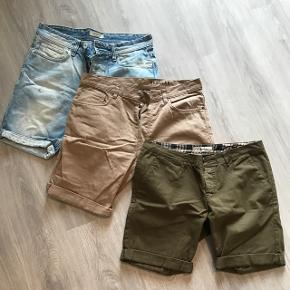 3 shorts str 33 og 34 Selected, h&m, just junkies