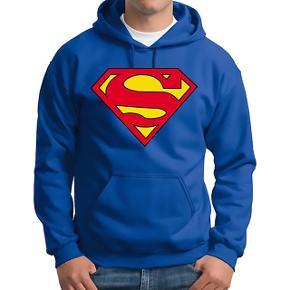 Hættetrøje med Superman logo. Stor Str. Medium