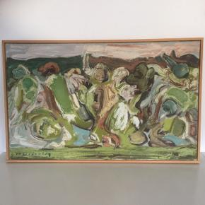 Fint gammelt maleri købt på auktion for 2000 for 8 år siden   Kunst abstrakt på lærred og ramme    Der er ved nærmere syn masser af symboler på liv død erotik par mm.   Ca 80x 50   Sender gerne   Se flere annoncer