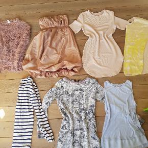 Lækker tøjpakke til kvinder i str 38/M Tøjet sælges kun samlet.  De 6 af delene har kun været på 2-3gange 1 styk tøj er Gmb Pakken består af:  4 kjoler  1 bluse 1 Blusekjoler 1 Tshirt Tøjet kommer fra røgfrit hjem. Nypris omkring 1100 kr. Fast mp 179+ evt fragt. Bud besvares ikke. Forskillige mærker som: Vero Moda  - Soyaconcept -Kiomi- Only mm obs en del hedder str L men passes af m.