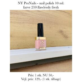 NY ProNails - nail polish 10 ml. farve 210 flawlessly fresh  Pris: 1 stk. NU 50,-  Vejl. pris: 129,- (1 stk. tilbage)   Se også over 200 andre nye produkter, som jeg har til salg herinde :-)