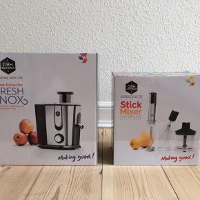 """""""Stick Mixer - slim mix 503""""  3 i 1 kombi: - Stavblender med 600 ml mikserskål - Minihakker på 500 ml - Ballonpiskeris  Aftagelig blenderstav og kniv i rustfristål. Trinløs hastighedsregulering samt momentfunktion. Motor på 500W.  Har aldrig være brugt eller pakket ud.  Sælger også en juicer / saftpresser fra OBH Nordica  Skal afhentes i Kolding"""