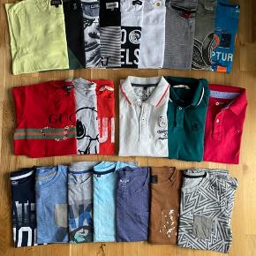 T-shirts i forskellige mærker.  Str: 134/140 undtaget de to t-shirts med krave (hvid og grøn) er i str: 146/150  Sælger gerne det hele i en, kom med et bud.