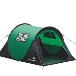 Pop op telt (pak ud, kast, færdig - Med 4 barduner og 9 pløkker).   Ikke grøn som på billedet, men cyan/grå.   Mål: 145 x 245 cm