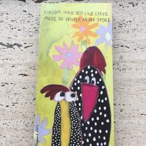 2 stk billeder på træklods af Marianne Komgård - 45 kr for begge to Mål: 10*21 cm og 2 cm i tykkelsen