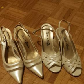 Lot de 2 paires de talons, cuir, beige dorée