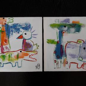 Billederne måler 30 cm x 30 cm. Sælges samlet - prisen er for begge.