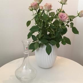 """Glas vinkaraffel Holmegaard.  Hvid glas - glat med rigle. Viol Fogliet. Design : Jacob E. Bang. Årgang 1991. Højde 25,1 cm. Bredde 13 cm.  Findes oprindelige i blåviolette violfarve fra 1928-1940  og senere i hvidt glas, røgtopas, rosalin, nefritgrøn, gyldenbrun, enkelt røde emner.  Nogle emner fra Viol serien er blevet produceret i mange år, blandt andet kluk flasker, ligeledes blev der relanceret, i ca. 1973, emner inden for foglietter og karafler.  Gravering af Viol emner blev påbegyndt i 1929, først i farven """"Violblå"""".   Ikke brugt og i rigtig fin stand.  BYD ☺️"""