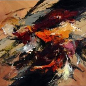"""Maria Kragh maleri - 80 x 60 Købt hos Midtjyllands Kunstcenter  80 x 60 cm  Værket hedder """"Dreaming of you"""""""