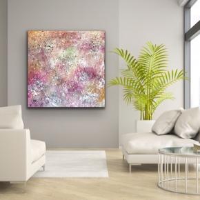 """""""Pink Chaos""""  Nyt maleri med målene 100 x 100 cm. Malet med akryl og spray 🎨 Lyserød lilla guld orange grøn hvis sort multi Pris er uden forsendelse. Tager også imod bestillinger efter egne farve- og størrelsesønsker 🍭🙏🏽 ROAR"""