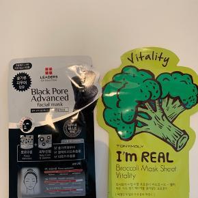2 slags masker   1 stk Black pore 1 stk broccoli mask  30kr pr stk