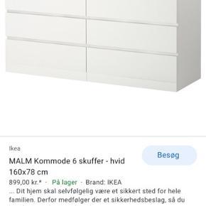 IKEA malm kommode med 6 skuffer 160x78 cm. Den har enkelte pletter i bunden af den nederste venstre skuffe (ikke noget, som man lægger mærke til)!