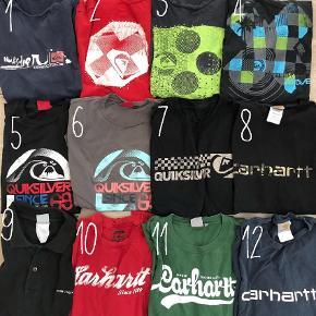 Brand: Carhartt / Adidas / Quicksilver / Billabong / DC Shoes / Nike m. fl.  Varetype: T-shirt Farve: Sort Oprindelig købspris: 15200 kr. Prisen angivet er inklusiv forsendelse.  Ikke ryger hjem.   Super fede mærker. Meget af tøjet er 10-20 år gammelt, så umuligt at få fat i nu! Det har ligget i et lukket skab med ventilation i mange år. Noget er brugt, noget er nyt eller som nyt. Alt i str. XL eller stor L / lille XXL, som svarer til XL.    MÆRKER:  1-7: Quicksilver 8-12+55: Carhartt 13-21: Billabong 22-24: Adidas 25: Split 26: le coq sportif 27: Signal 28: O'Neill 29-30: DC Shoes 31-32+56: Puma 33-35: Nike 41: Blunt 42-43+46-47+53: H&M 44-45: Roskilde Festival 54: wesc 57: Kappa   PRISER (pris i parantes er nyprisen):  1: 30,- (300,-) 2: 30,- (250,-) 3: 30,- (250,-) 4: 50,- (300,-) 5: 60,- (300,-) 6: 60,- (300,-) 7: 60,- (300,-) 1-7 (alle Quicksilver): 300,- (2000,-) 8: 150,- (400,-) 9: polo 50,- (500,-) 10: 100,- (400,-) 11: 100,- (400,-) 12: 50,- (300,-) 8-12 (alle Carhartt): 400,- (2400,-) 13: 40,- (300,-) 14: 40,- (250,-) 15: 30,- (300,-) 16: 40,- (300,-) 17: 25,- (200,-) 18: 25,- (200,-) 19: 25,- (200,-) 20: 30,- (250,-) 21: 25,- (200,-) 13-21 (alle Billabong): 200,- (2200,-) 22: 50,- (200,-) 23: Gammel retro tee 100,- (350,-) 24: 50,- (200,-) 25: 35,- (400,-) 26: 35,- (250,-) 27: 10,- (200,-) 28: 15,- (200,-) 29: 130,- (400,-) 30: 25,- (250,-) 31: 35,- (200,-) 32: 35,- (200,-) 33: 40,- (250,-) 34: 40,- (250,-) 35: 40,- (250,-) 36: 40,- (250,-) 37: 15,- (150,-) 38: 5,- (120,-) 39: Undertrøje 5,- (70,-) 40: 40,- (250,-) 41: dj med pladespiller 25,- (250,-) 42 og 43: 5,- for begge (100,-) 44: RF 2010: 20,- (250,-) 45: RF 2008: 20,- (250,-) 46: kortærmet skjorte 5,- (130,-) 47: kortærmet skjorte 10,- (130,-) 48: 10,- (150,-) 49: 15,- (200,-) 50: 50,- (350,-) ny med mærke 51: 50,- (250,-) 52: har huller men super fed og varm 20,- (400,-) 53: strik 20,- (200,-) 54: 200,- (500,-) 55: 250,- (700,-) 56: 200,- (500,-) 57: 40,- (400,-)  KØB DET HELE FOR KUN 2.000,- kr!